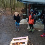 Building a fire to cook marshmellows
